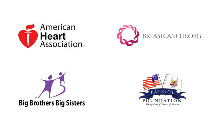 Company logos for the American Heart Association, BreastCancer.org, Big Brothers Big Sisters, and the Patriot Foundation