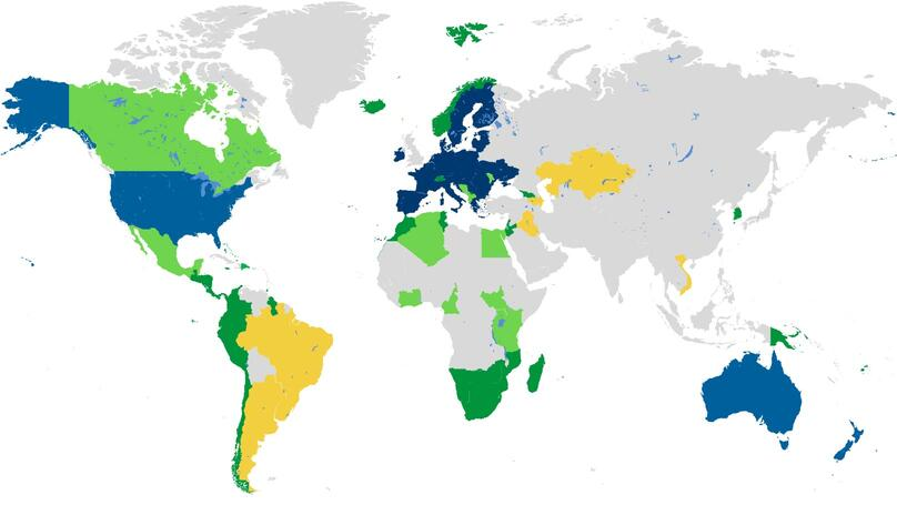 Map of UK Stance with Regard to Global Trade Deal Negotiations.